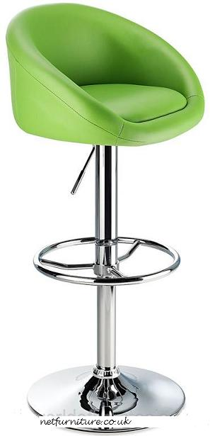 Lombardy Kitchen Breakfast Bar Stool - Green Seat Chrome or Brushed Frame