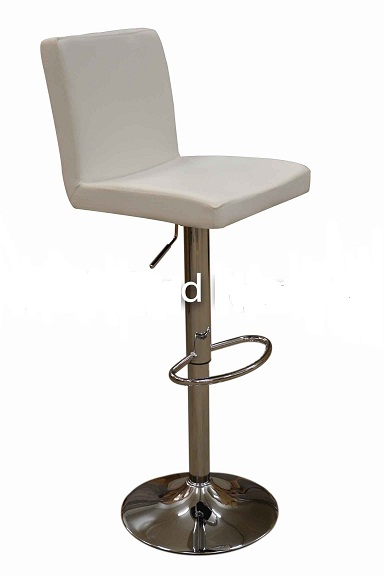 Siam White Kitchen Breakfast Bar Stool Padded Seat And Back Height Adjustable
