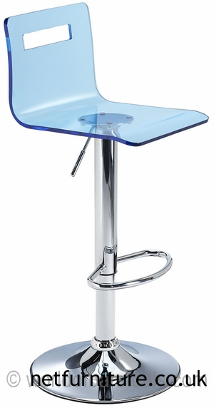 Tower Acrylic Transparent Kitchen Breakfast Bar Stool Adjustable Height - Blue