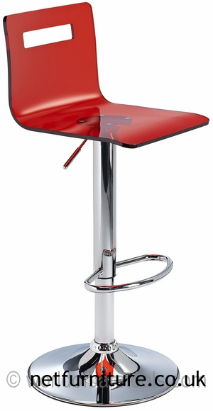 Tower Acrylic Transparent Kitchen Breakfast Bar Stool Adj Height - Red