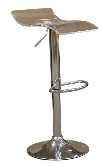 Harvey Luminescent Clear Perspex Acrylic Kitchen Bar Stool Height Adjustable Swivel Seat