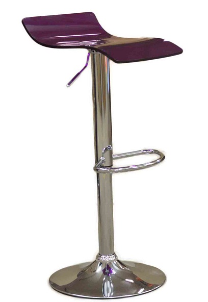 Harvey Luminescent Purple Perspex Acrylic Kitchen Bar Stool Height Adjustable Swivel Seat