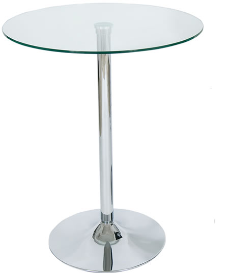 Tranon Tall Bar Table 60cm Round Glass Top