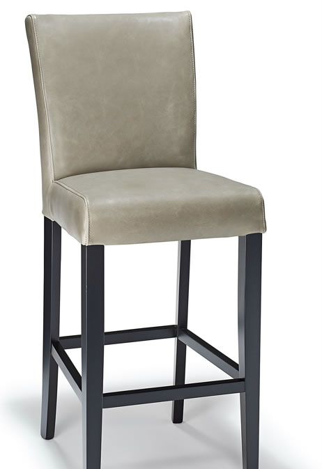 Charroney Grey Aniline Leather Kitchen Breakfast Bar Stool, Fully Assembled Padded Seat