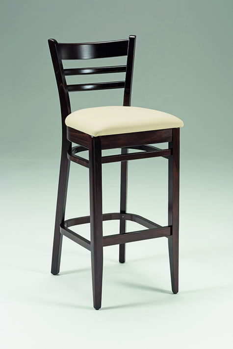 Prisma Walnut Bar Stool with Upholstered Cream Seat High Stool