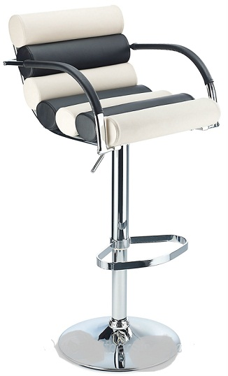 Exeter Breakfast Bar Stool Adj Height Black and White Faux Leather Padded Seat