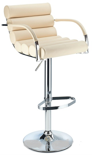 Exeter Breakfast Bar Stool Adjustable Height Cream Faux Leather Padded Seat