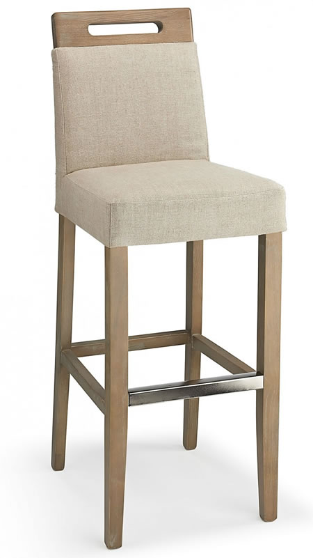 Modomi Cream Fabric Seat Kitchen Breakfast Bar Stool Wooden Frame