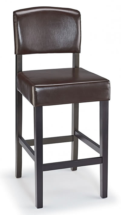 Leponay Kitchen Bar Stool Brown Bonded Leather And Walnut Wood Frame