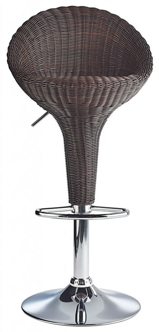 Blazone Brown Rattan Style Modern Kitchen Bar Stool Height Adjustable