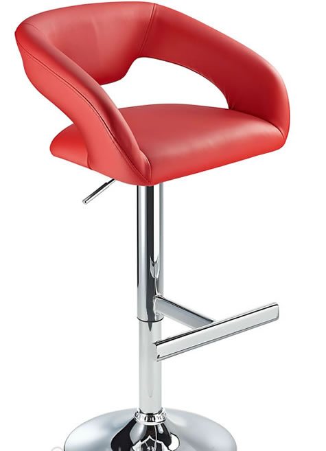 Mesoni Kitchen Breakfast Bar Stool T Bar Footrest Red Padded Seat Height Adjustable