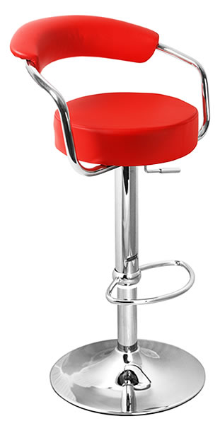 Berty Kitchen Bar Stool Red Cushioned Seat and Back Rest