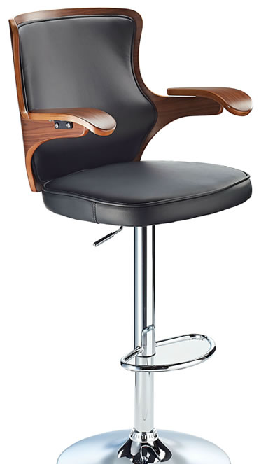 Bagon Kitchen Breakfast Bar Stool High back and High Armrests Black Padded Seat with Walnut