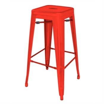 Nelia Steel Stool  - Red