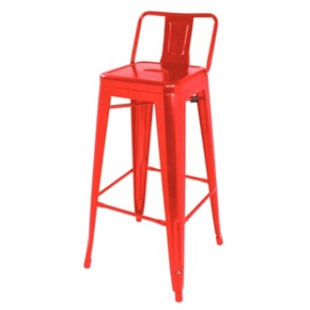 Helio Steel Stool with Back - Red Set of 2