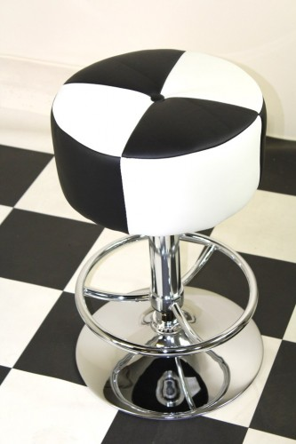 Morasi American Diner Retro Style Kitchen Bar Stool Black and White Padded Seat