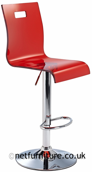Romeo Red Acrylic Transparent Kitchen Breakfast Bar Stool Height Adjustable Seat