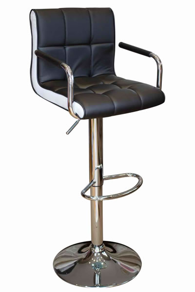 Modern Costa Bar Stool - Black Faux Leather with Contrasting White Inset