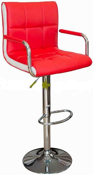 Modern Costa Bar Stool - Red Faux Leather with Contrasting White Inset