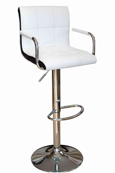 Modern Costa Bar Stool - White Faux Leather with Contrasting Black Inset