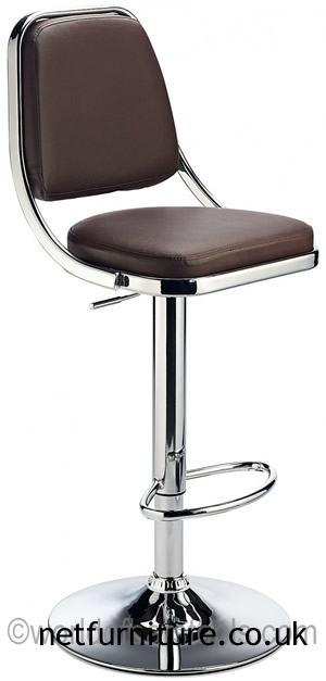 Romano Kitchen Bar Stool Brown Padded Seat and Back Height Adjustable