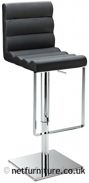Regal Black Kitchen Bar Stool Padded Adjustable Chrome Frame and Footrest