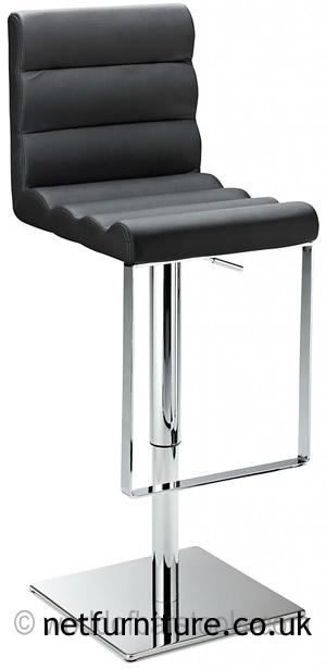 Regal Black Kitchen Bar Stool Padded Adjustable Chrome Frame and Footrest