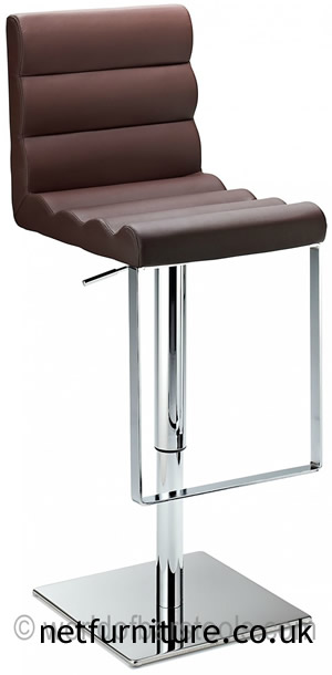 Regal Brown Kitchen Bar Stool Padded Adjustable Chrome Frame and Footrest