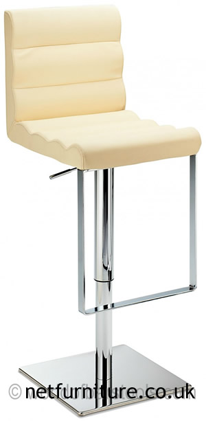 Regal Cream Kitchen Bar Stool Padded Adjustable Chrome Frame and Footrest