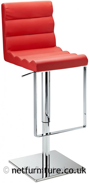 Regal Red Kitchen Bar Stool Padded Adjustable Chrome Frame and Footrest