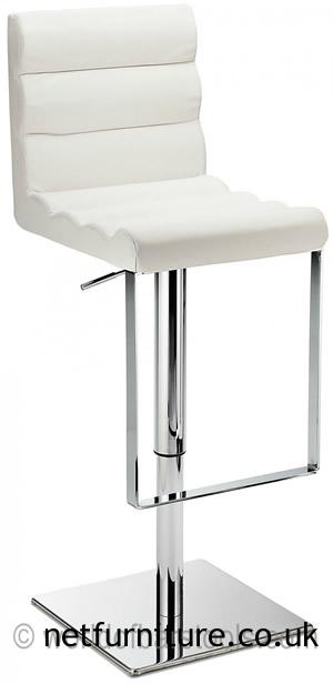 Regal White Kitchen Bar Stool Padded Adjustable Chrome Frame and Footrest