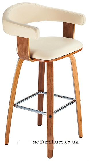 Pueblo Fixed Height Wood Bar Stool with faux leather padded seat and back