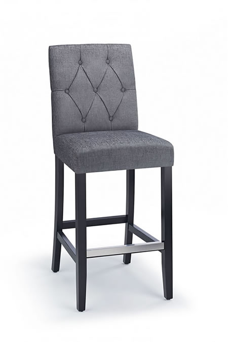Rosco Black Frame Bar Stool Grey Padded Fabric Seat And Back Fixed Height