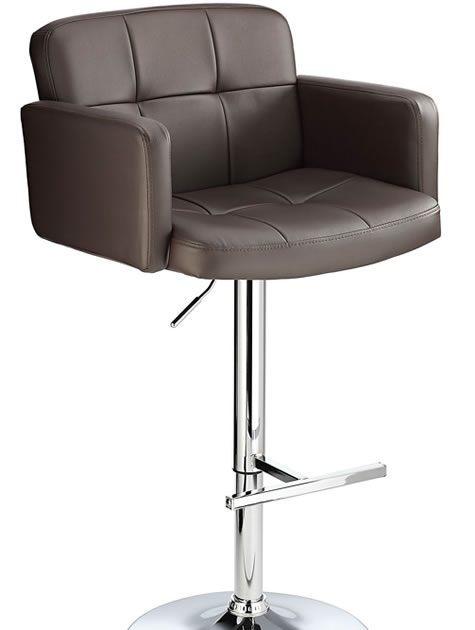 Reyal Bar Stool  Brown Padded Seat With Arms Height Adjustable