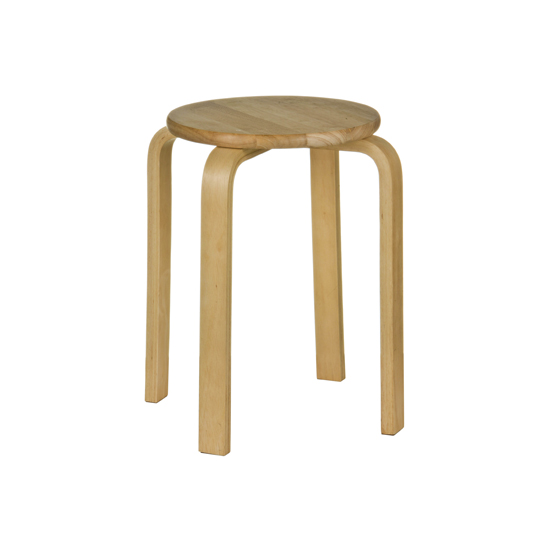 Stower Low Wood Stool - Round Top Rubber Wood