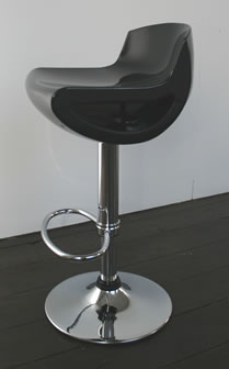 Satun kitchen breakfast bar stool black ABS seat gloss