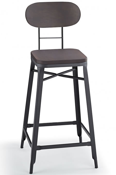 Fapone Farm House Style Kitchen Breakfast Bar Stool Grey and Walnut