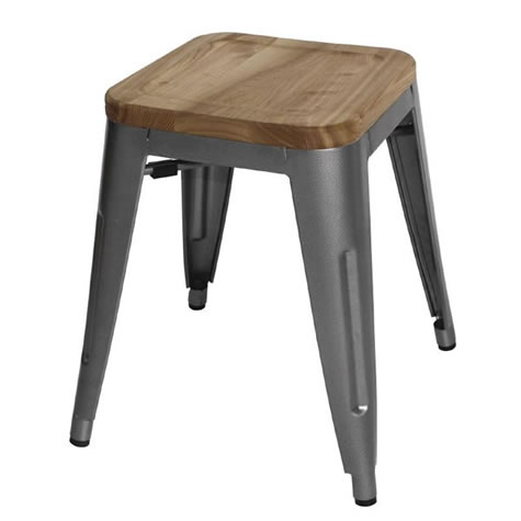 Pasco Grey Steel Bistro Low Stools Industrial Style with Wooden Seatpad Price is Per Pair Stackable Fully Assembled