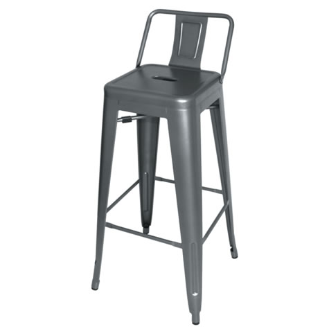 Helio Steel Bar Stool with Back - Gun Metal Grey Set of 4 Fully Assembled