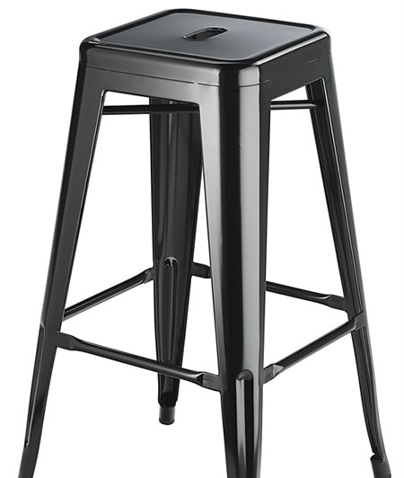 Levlin Metal Frame Modern Kitchen Bar Stool In Black