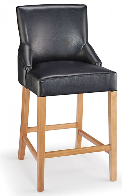 Naponese Oak Wood Stylish Kitchen Breakfast Bar Stool Black Padded Seat Fully Assembled