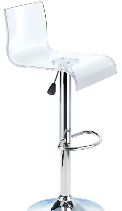 Snazzy Clear Acrylic Adjustable Height Bar Stool with Swivel Seat