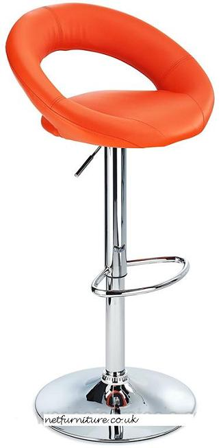 Serene Orange Padded Kitchen Breakfast Bar Stool Height Adjustable
