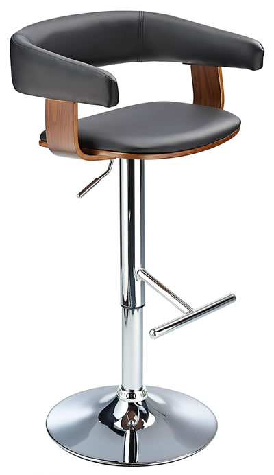 Mustang Kitchen Breakfast Bar Stool Fully Adjustable - Walnut and Black