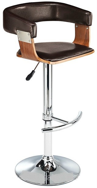 Mustang Kitchen Breakfast Bar Stool Fully Adjustable - Walnut and Brown