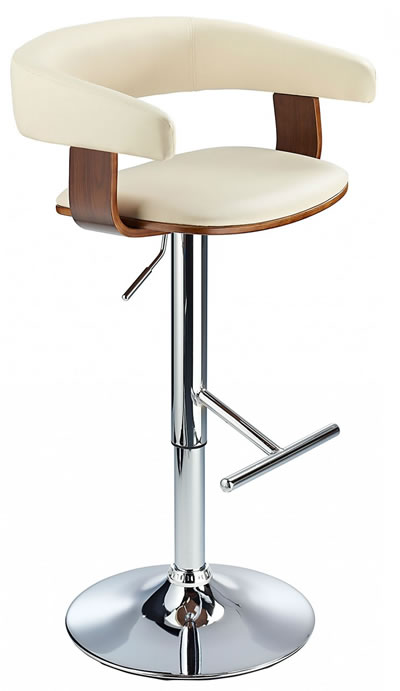 Mustang Kitchen Breakfast Bar Stool Fully Adjustable - Cream and Walnut