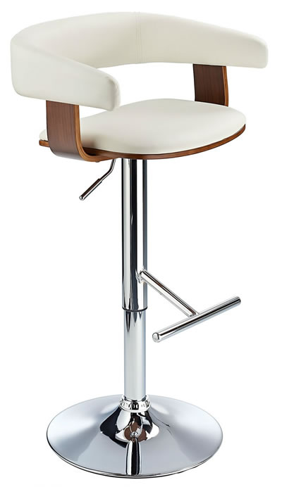Mustang Kitchen Breakfast Bar Stool Fully Adjustable - White and Walnut