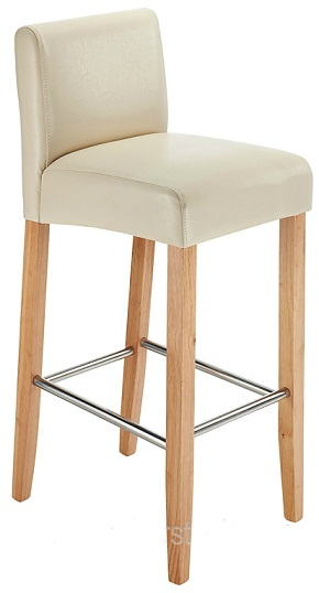 Stenory Cream Padded Kitchen Breakfast Bar Stool Wooden Frame and Legs