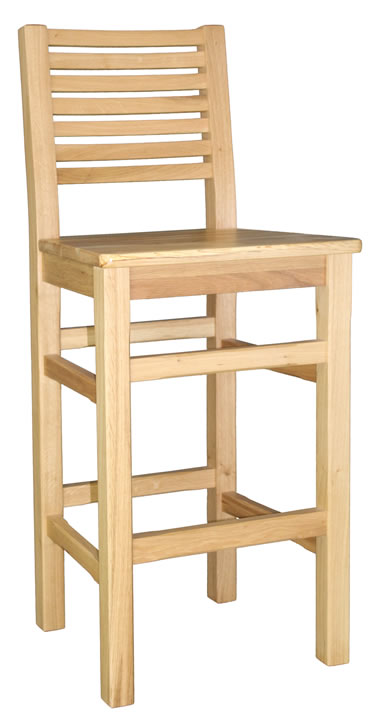 Stayney solid oak wooden kitchen breakfast bar stool fully assembled