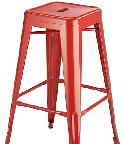 Levlin Metal Frame Modern Kitchen Bar Stool In Red